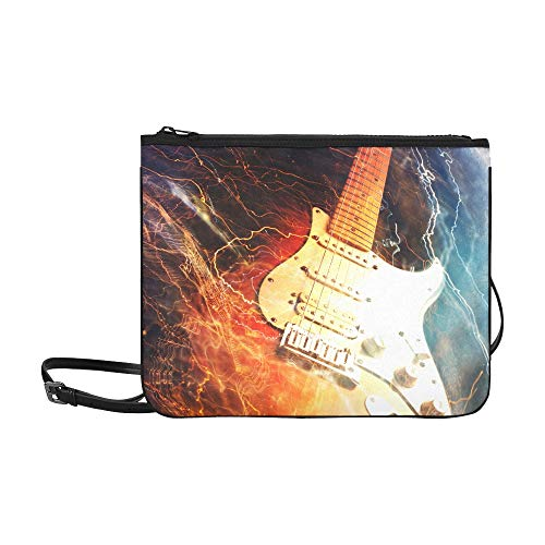 Beach Fashion Bag Jazz Rock Cool Guitarra eléctrica para niño Correa de hombro ajustable Crossbody Bolsas para adolescentes para mujeres Niñas Damas Bolso Pantalla Lindo bolso de embrague