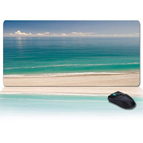 Extended Large Gaming Mouse Pad Sand Beach Themed Multipurpose Non-Slip Mouse Mat Professional Oversized Desk Mat Anti-Fray Keyboard Pad for Gamer/Esports Pros/Office Wave Sea Water