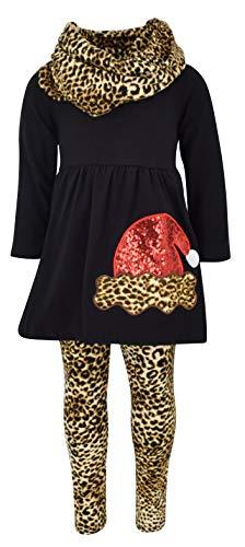Unique Baby Girls Leopard Print Santa 3 Piece Christmas Outfit (7/XXL, Black)