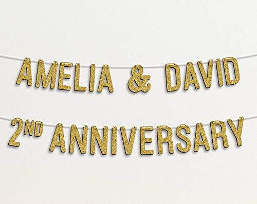 Guirnalda de banderines personalizados con purpurina para decoración de bodas, aniversarios, fiestas, de algodón, color dorado con purpurina 98