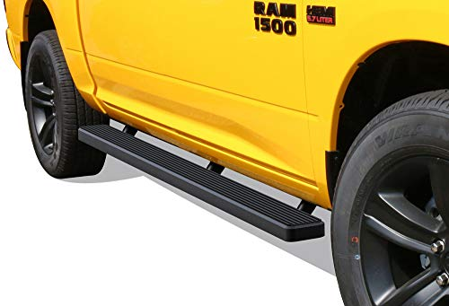 APS iBoard Running Boards 5in Black Custom Fit 2009-2018 Ram 1500 Crew Cab Pickup 4Dr & 2010-2020 Ram 2500 3500 (09-12 Drilling Required) (Nerf Bars Side Steps Side Bars)