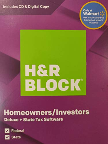 H&R Block Homeowners/Investors Deluxe + State Tax Software 2019