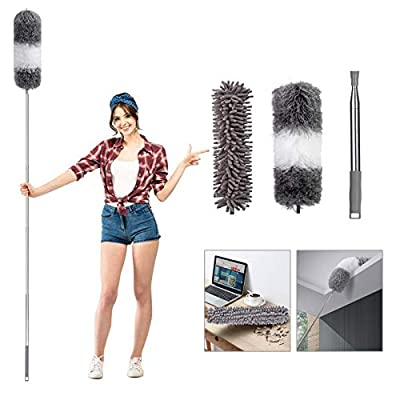 """Telescoping Microfiber Duster for Cleaning, 100"""" Extension Pole Cobweb Duster, Detachable Bendable Head, Feather Dusters for Cleaning Roof, Ceiling Fan, Blinds, Furniture, Cars"""