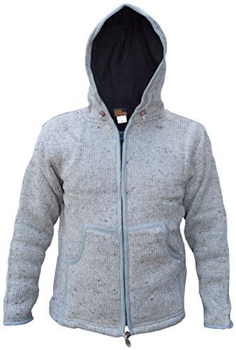 Little Kathmandu - Jersey con capucha de lana natural hecho a mano Plateado plata X-Large