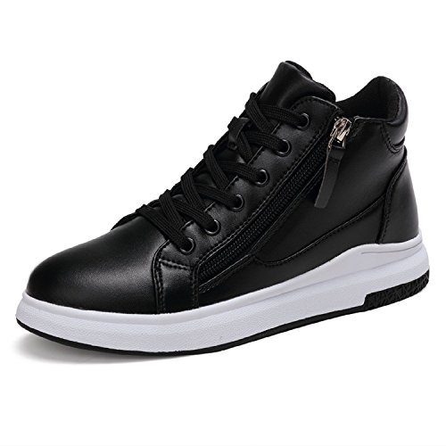 LILY999 Sneakers Zeppa Interna Scarpe da Ginnastica Sportive Donna Alte Bianche Nere Tacco 6 cm(Nero,34 EU)