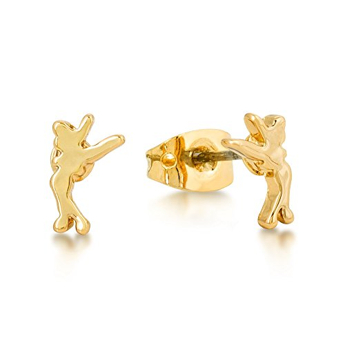 Disney JUNIOR Gold-Plated Little Standing Tinkerbell Stud Earrings by Couture Kingdom
