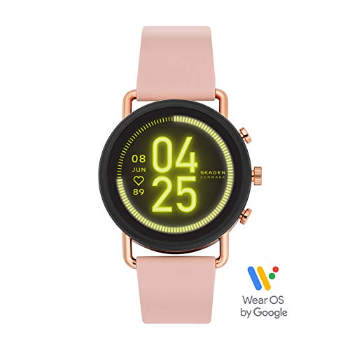 Skagen Connected Falster 3 Gen 5 Stainless Steel and Silicone Touchscreen Smartwatch, Color: Pink (Model: SKT5205)