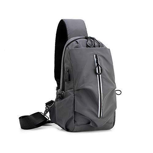 Sling Bag Shoulder Chest Bag Lightweight Cross Body Bags for Mensafety Reflective Strip Usb Charging Port Multifunctional Chest Bag,Gray