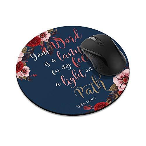 N\A Alfombrilla de ratón Redonda Antideslizante Versículos de la Biblia Cristiana Salmo 119: 105 Alfombrilla de ratón para el hogar, la Oficina y el Escritorio de Juegos