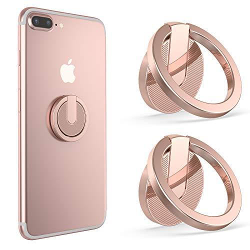 Ossky Anillo Soporte móvil Universal para el Dedo,Titular del teléfono,Soporte Teléfono con rotación 360ºAnilla metálica de Ajuste,Ring Stand Holder para iPhone 11,Samsung S10 S202 Pcs/Oro Rosa
