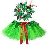Tutu Dreams Hawaiian Hula Luau Tutu Skirt Toddler Girls Hawaiian Dress with Fern Leaf Headband Tropical Costume (Lilo, Toddler(2-6Y))