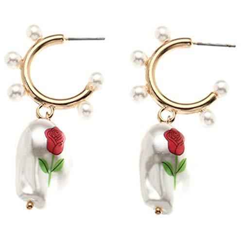 Fascigirl Pendientes De Aro De Perlas Falsas Colgante Creativo De Rosa Pendientes De Huggie Pendientes Colgantes Pendientes De Perlas De Imitación