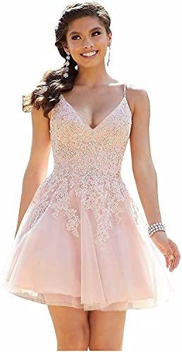junytDing Women V Neck Lace Beaded Short Prom Homecoming Dresses Sweet...