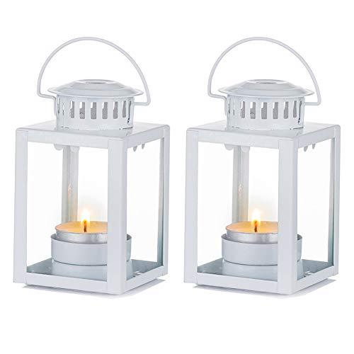 Nuptio Laternen Dekorativ, 2 Stück Kerzenlaternen Indoor Teelicht Kerzenhalter, Weiß Hängende Gartenlaternen Kerzenhalter Laterne für Outdoor Geburtstagsfeier Hochzeit Herzstück Entspannenden Spa