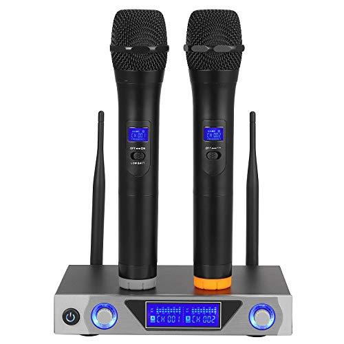 LiNKFOR UHF Sistema Microfonico Wireless con Display LCD Set di 2 Microfoni per Karaoke Portatili a Doppio Canale Sistema Microfono Radiofonico per Matrimoni all'aperto Conferenze Karaoke Feste Serali