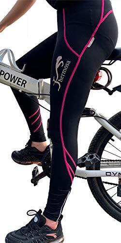 Shermosa Fahrradhose Damen Gepolstert Radhose Damen Lang mit Polster Radlerhose Damen mit Sitzpolster MTB Hose Schwarz-rosa EU L