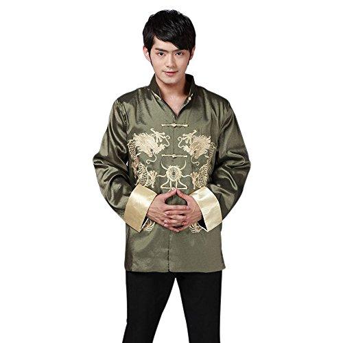 BOZEVON Homme Veste de Tang Motif Dragon Rétro Brodés Kung-Fu Vêtement Chinois Chemise, 3 Couleurs (Vert)