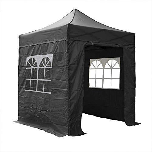 AIRWAVE Pop Up Gazebo 2x2m Waterproof Canopy Marquee Tent Outdoor Shelter with Four Side Panels and Carry Bag for Garden Party Outdoor Event (Black)
