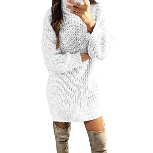 Lulupi Strickpullover Damen Rollkragen Pulloverkleid Strickkleid Stehkragen Pullover Lang, Longpullover Minikleid Herbst Winter Langarm Feinstrick Kleid