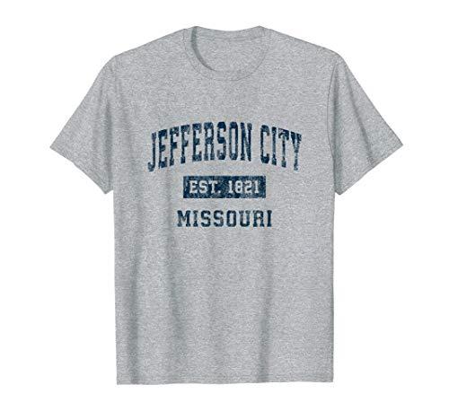 Jefferson City Missouri MO Vintage Sports Design Navy Print T-Shirt