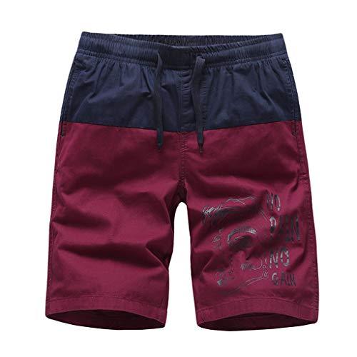 Xniral Herren Boardshorts Strand Shorts mit Verstellbarem Tunnelzug Schwimmhose Sporthose Badehose für Herren Jungen Schnelltrocknend Badeshorts(a Wein,L)
