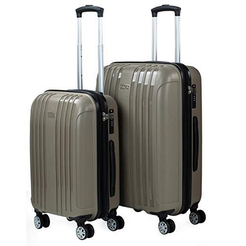 ITACA - Set di 2 valigie estensibili +3cm 4 ruote doppie girevole. Trolley in polipropilene. Rigide, resistenti, e leggere. Lucchetto TSA integrato. Misure Piccola e Mediana. Qualità e di, Color Beige