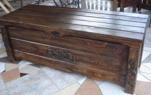 massive handgemachte Holzkiste Truhe Box Holz Aufbewahrung Antik Dekoration BT2 - 2