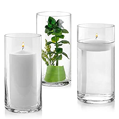 Set of 3 Glass Cylinder Vases 8 Inch Tall - Multi-use: Pillar Candle, Floating Candles Holders or Flower Vase – Perfect as a Wedding Centerpieces. (Clear)
