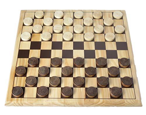 Engelhart - 150235-150236- Set di Scacchi / Dama Legno di Betulla - 12 'x 12' - Tavolo da Gioco in Legno massello - Gioco Completo di Pezzi - dai 6 Anni in su (Dama)