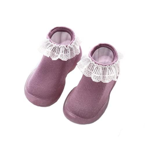 [NSHOP] ベビーシューズ ファーストシューズ ベビー シューズ 靴下シューズ ソックスシューズ 靴 室内履き 歩き始め 練習用 室内シューズ 履きやすい 柔らかい 靴下シューズ 可愛い ギフト プレゼント レース くすみカラー 赤ちゃん (パープル,