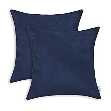 CaliTime Pack of 2 Cozy Throw Pillow Covers Cases for Couch Bed Sofa Super Soft Faux Suede Solid Color Both Sides 18 X 18 Inches Navy Blue