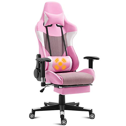 Giantex Ergonomic Gaming Chair with Massage Lumbar Support, Pink High Back Racing Style Chair, Headrest and Footrest, Reclining Height Adjustable Task Chair (Pink)