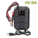 Cargador de batería para moto coche 12 V 20 A, mantenimiento de batería inteligente con tecnología de reparación por impulsión, pantalla LCD, voltaje 110 ~ 240 V, capacidad 10 AH-250 AH
