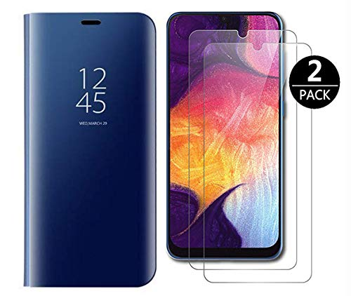 Dedux Cover Samsung Galaxy A30s Custodia Luxury Mirror Pelle Leather Flip Stand Protective Cover Case for Samsung Galaxy A30s, Blu + [2 Pack] Screen Protector
