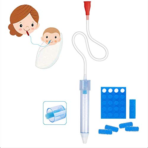 Naugust Baby Nasal Aspirator,Baby Nasal Aspirator with 24 Disposable Filters Reusable Nose Cleaning Tool