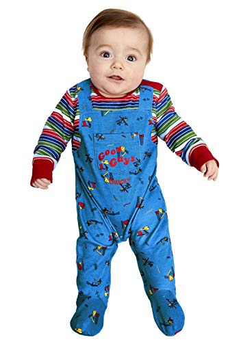 Smiffys Officially Licensed Chucky Baby Costume Disfraz oficial, color azul y rojo, B1-0-3 Months (52411B1)