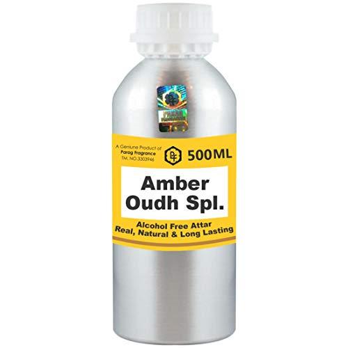 Parag Fragrances Amber Oudh Spl. Attar Lot de 500 ml sans alcool pour homme et femme Usage religieux