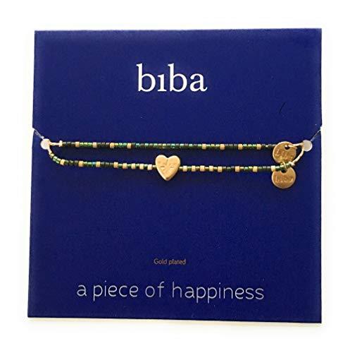 Wunschkarte SET Herz Heart Armband gold grün Freundschaftsarmband Make a Wish CLW Biba