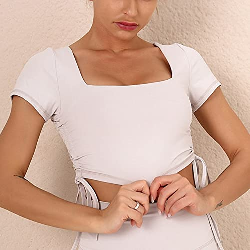 AMAZZY Camiseta de Mujer con Tirantes Blusa Deportiva Dry Fit Camisa Deportiva Mujer Tirantes de Fitness Tirantes de Arrugas Camisetas Cortas Deporte Verano M Blanco