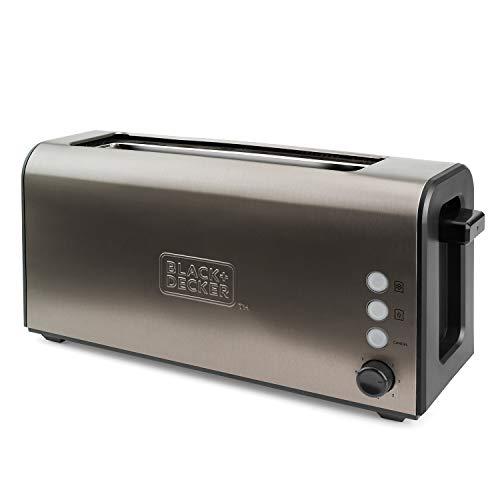 Black+Decker BXTO1000E Tostadora de Pan con Ranura Larga y Extra Ancha, 7 Niveles de Tostado, Sistema Auto-centrado, Funciones: Stop, Recalentar y Descongelar, 1000 W, Acero Inoxidable, Inox