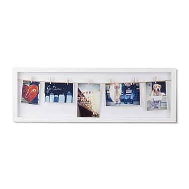 Umbra Clothesline Flip Photo Display, Photo Display, Picture Hanging Wire/Clothespin Photo Display, White