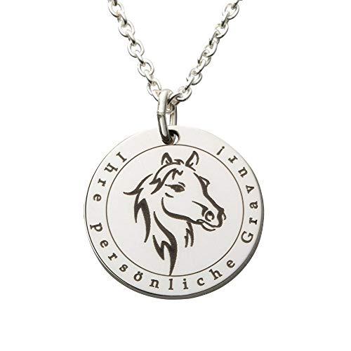Hals-Kette echt Silber 925 mit Gravur - Pferd Geschenke für Mädchen zum Geburtstag, Weihnachten oder zur Kommunion (M - 20mm Durchmesser)