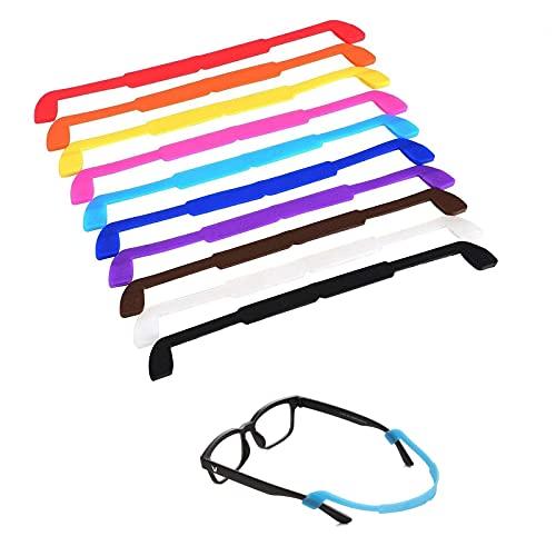 LEEQ 10 Piezas Correa de Gafas de Silicona Cordones de Gafas Retenedor de Gafas de Sol Cuerda de Gafas Antideslizante para los Niños, 10 Colores
