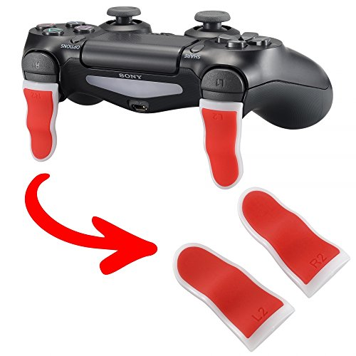 Photo of eXtremeRate® Red White L2 R2 Buttons Extention Trigger, Soft Touch Grip Extenders, Game Improvement Adjusters for PlayStation 4 PS4 Pro PS4 Slim Controller (1 Pair)