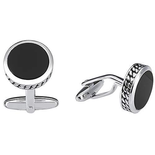 Vinani Design Manschettenknöpfe Onyx rund Verzierung geschwärzt glänzend 925 Sterling Silber Herren Anzug Hemd 2MAG