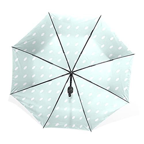 NC Paraguas Plegable Compacto con protección UV, Lunares Azules Sombrilla Anti-UV para...