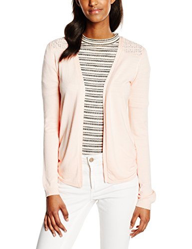 New Look Damen Strickjacke, Lace Shoulder , Gr. 40 (Herstellergröße: 12), Rosa (Nude)
