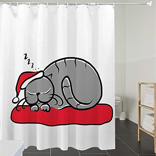 Derun Great for Showers Tenda da Bagno Tessuto in Poliestere Bagno Tenda,Natale, Gatto con Cappello di Babbo Natale Baffi sul Cuscino Winter Night Cartoon Artwork, Multicolor,Facile da Pulire