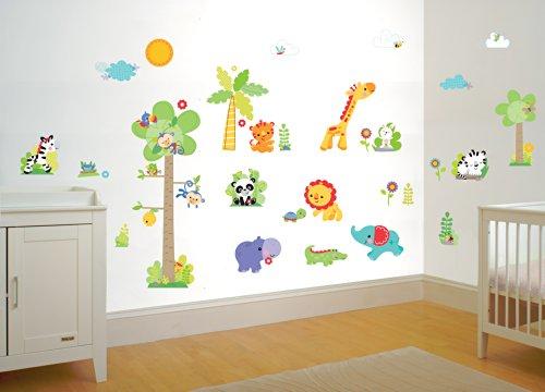FunTosee Fisher Price Kit de stickers muraux pour chambre de bébé Motif animaux de la forêt tropicale