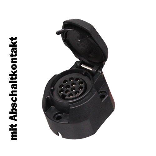 Steckdose 13-polig Kunststoff m. Abschaltkontakt f. Nebelschlussleuchte Anhänger - Anhänger - Stecker - Anhängerstecker - Steckdose